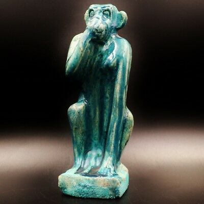 Rare Ancient Egypt Egyptian Antique FAIENCE BABOON Babi Statue ..ONE OF A KIND
