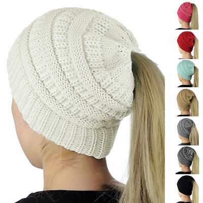 Beanietail Messy High Bun Ponytail Stretchy Knit Beanie Hats Skull Women Hat New