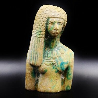 Rare Antique Egyptian Large Faience Amulet Ancient Queen Tiye Figurine