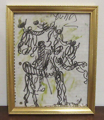 Purvis Young - Signed & Framed Vintage Drawing - Angels Freedom Horse Listed COA