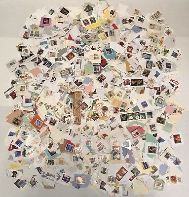 lot of 1000 bulk used cancelled u s postage stamps on paper