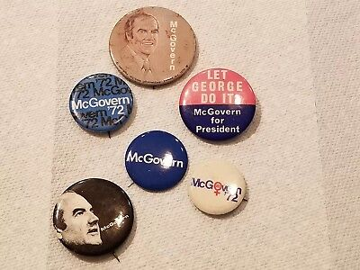 George McGovern 1972 campaign pin button political lot of 6