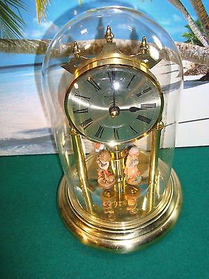 Junghans Quartz Anniversary Dome Glass Clock W/mini Figures - Made In Germany