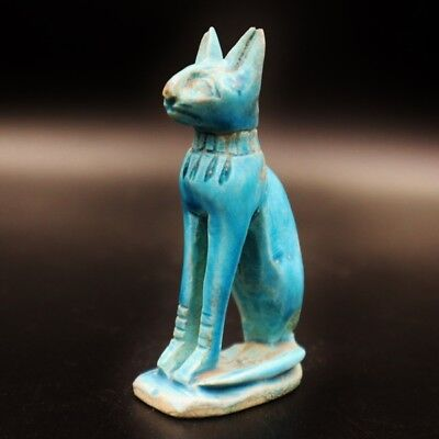 Rare Ancient Egyptian Stone Cat BASTET (Bes) Amulet Figurine, Late Period 672 BC