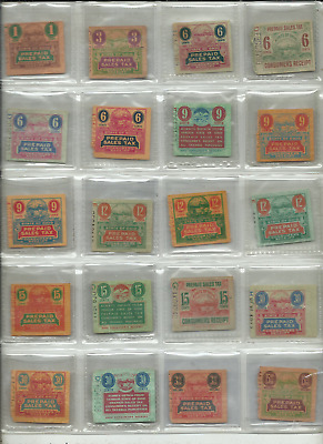 Lot of 20 State of Ohio Prepaid Sales Tax Consumer Receipts 1 Cent thru $15.00