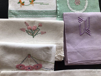 Vintage Embroidered Hand Guest Towels.6 In This Lot.