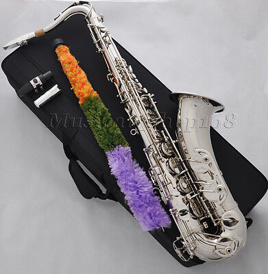 professional new silver Nickel Bb tenor Saxophone high F# with Metal mouthpiece