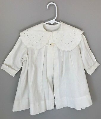 Antique Victorian/edwardian COTTON & Embroidered BABY CHRISTENING COAT