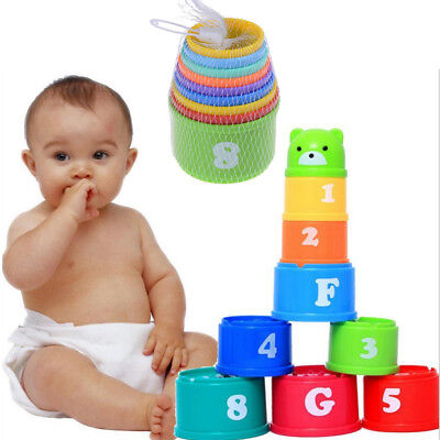 9X Stack Nest Plastic Cups Rainbow Stacking Tower Educational Stacking Kids Toys