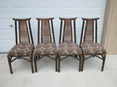 Vintage Bamboo Dining Chairs Asian Style With Fabric Seat Set of 4
