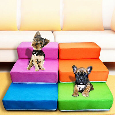 Portable 2-Steps Puppy Dog Cat Pet Stairs Ramp Ladder Sponge Cover Sofa Bed Smar
