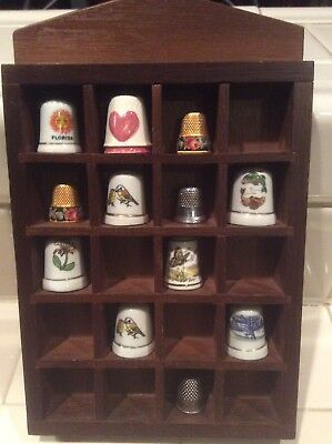 Mixed Lot VINTAGE 12 Piece Thimble Collection with Wooden Wall Display Case -VGC