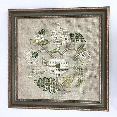 Floral Crewel Embroidery Vintage Framed Art Gold Green Pickled Frame 18.5""
