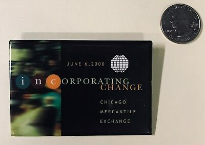 Rare CME Chicago Mercantile Exchange Button Badge Pin Incorporating Change 2000