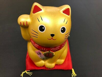 Pottery Maneki Neko Beckoning Lucky Cat 7321 Accessory Case Mike 70mm from JAPAN