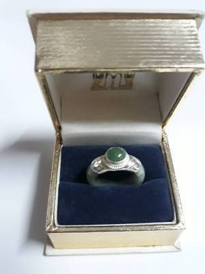 Antique genuine jade stone old silver wonderful ring lucky powerful Thailand 7US