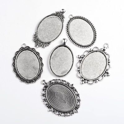 500g Antique Silver Plated Mixed Shape Alloy Pendant Cabochon Settings Jewelry