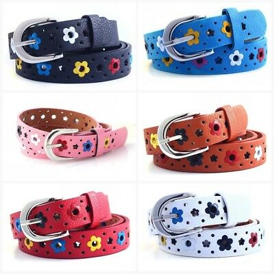 Kids Floral Belt Buckle PU Leather Toddler Child Girls Waistband Butterfly Belt