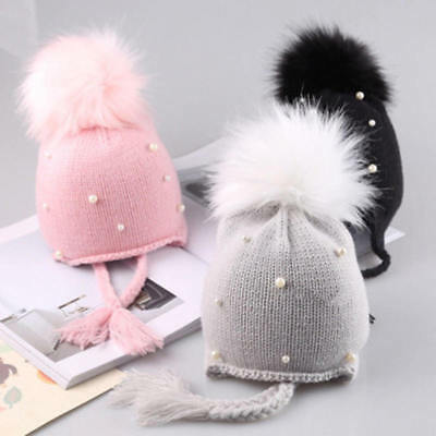 Newborn Kids Baby Boys Girls Fur Pom Hat Winter Warm Knit Bobble Beanie Cap