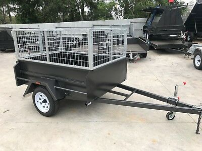 6x4 BOX TRAILER | 500MM HIGH SIDES | WITH 2FT CAGE | LONG DRAW BAR