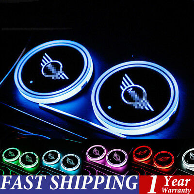 2X LED Car Cup Holder Bottle Pad Mat Auto Interior Atmosphere Lights For MINI UK