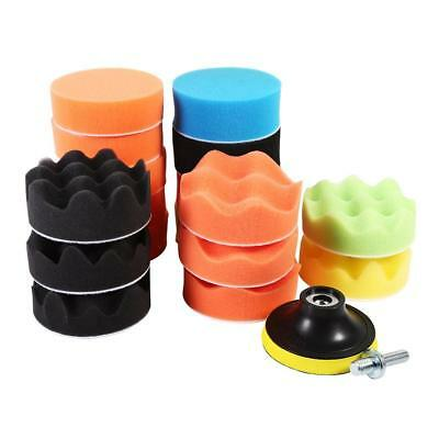 "19* Buffing Sponge Polishing Pad Set 3"" For Car Polisher Buffer w/ Drill Adapter"