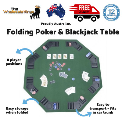 "48"" Green Felt Covering Folding Poker & Blackjack Table with 8 Player Positions"