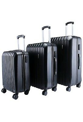 Abs 3Pcs Luggage Travel Set Bag Trolley Spinner Suitcase With Tsa Lock