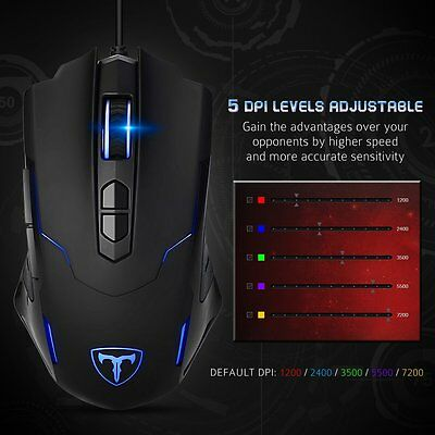 Ergonomic Optical Wired Gaming Mouse RGB Backlit 7200DPI Programmable Button PC