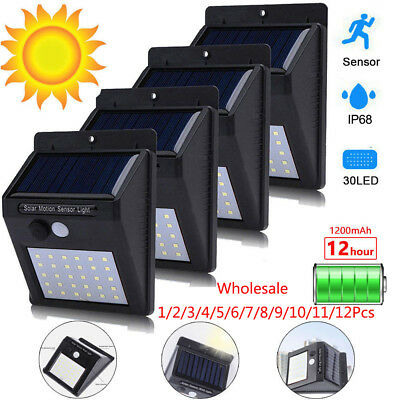 30LED Solar Powered PIR Motion Sensor Wall Security Light Garden Outdoor Lamps
