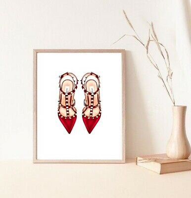 watercolour drawing of red louboutin pumps print/poster