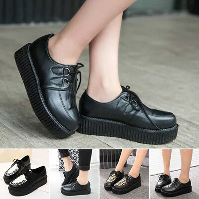 abcd1b32e4d Womens Ladies Flat Platform Wedge Lace Up Creepers Punk Goth Shoes Boots  Size