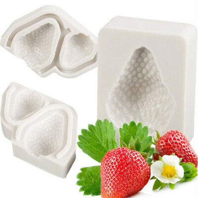 3Pcs 3D Strawberry Cake Silicone Mold Fruit Chocolate Baking Pastry Icing Mould