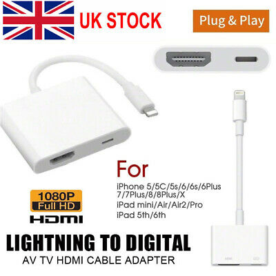 8 Pin Lightning to HDMI Digital TV AV Adapter Cable For Apple iPad iPhone X 8 7