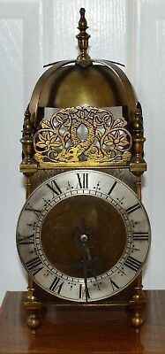 Antique Large Brass Lantern Clock by Astral of Coventry Working