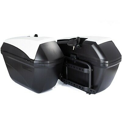 Motorcycle Pair Side Cases Rigid black 32L Motorcycle Bags Frame Included