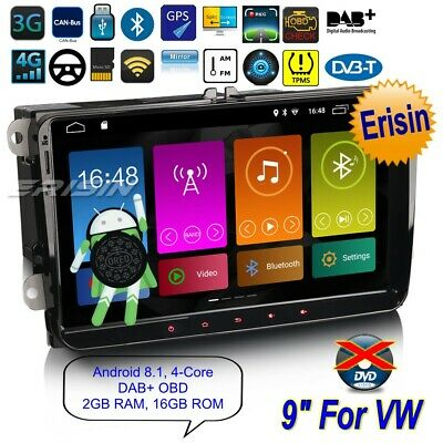 "Autoradio For VW SEAT Golf Polo Beetle Leon EOS Android 8.1 TNT DAB+ TPMS9""2891F"