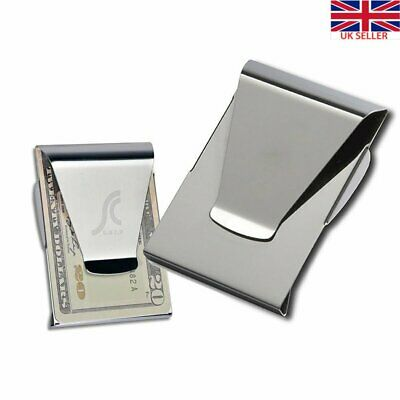 Stainless Steel Silver Money Clip Holder Cash Gift Mens Wedding Favour Cash Clip