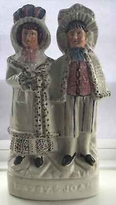 Very Rare Antique 19th Century Victorian Staffordshire Pottery Darby & Joan
