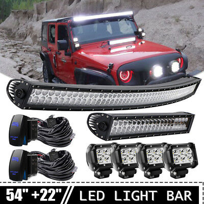 """54inch Curved LED Light Bar Combo + 22"""" + 4x 4"""" Pods SUV Truck 4WD FORD 52"""""""