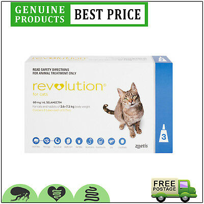 REVOLUTION Flea Heartworm Prevention 3 Doses for Cats 2.6 to 7.5 Kg BLUE Pack