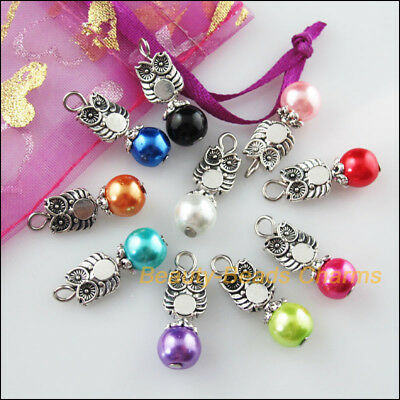 10 New Charms Mixed Round Glass Beads Pendants Tibetan Silver Tone Owl 8x24mm