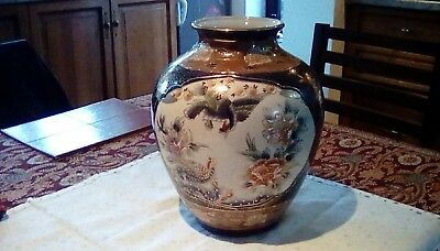 Vintage Large 16cms Tall Chinese Flower & Bird Hand Decorated Vase Jar no marks.