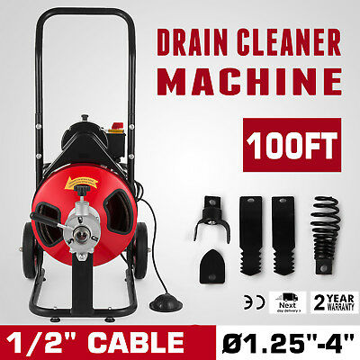"""Commercial SEWER SNAKE drain auger cleaner 100 ft long 1/2"""" 4 cutter foot switch"""