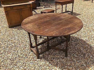 Early 18th Century Oak And Fruitwood Gate Leg Dining Table Georgian Country