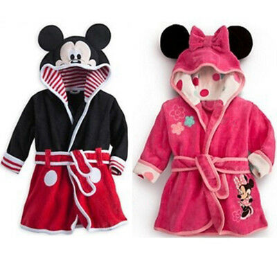 Baby Kids Boys Girls Winter Hooded Bath Robe Mickey Minnie Nightwear Sleepwear