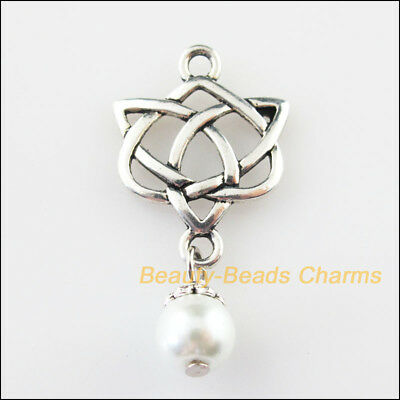 3 New Chinese Knot Charms White Glass Beads Pendants Tibetan Silver Tone 19x37mm