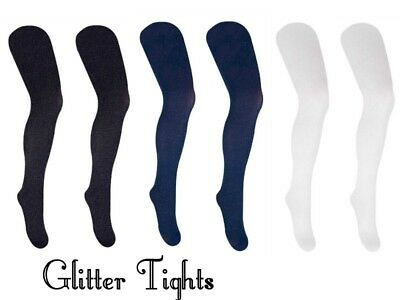 Girls Christmas Fashion Glitter Tights 40 Den Navy Black White Size 2-10 Years