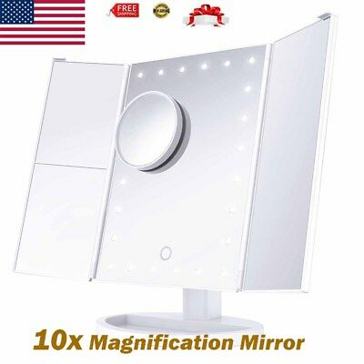 LED Lighted Cosmetic Makeup Mirror with 10X Magnification Vanity Stand Mirror US
