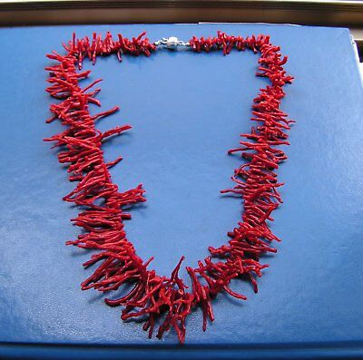 ANTIQUE STYLE NATURAL RED AKA BLOOD OF THE OX CORAL NECKLACE 46Cm BRANCHES 3Cm